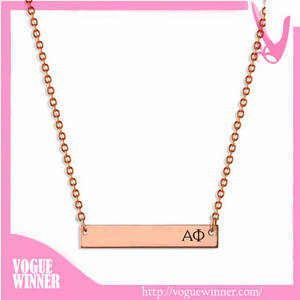 Wholesale wholesale sterling silver jewelry: Horizontal Small Link Name Wholesale Personalized Gold Bar Necklace