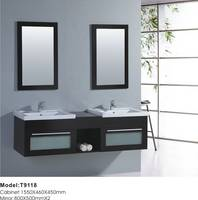 Modern Expresso Solid Wood Double Sink Bathroom Vanity T9118