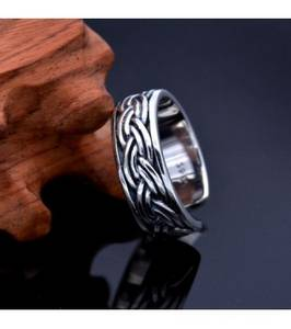 Wholesale Rings: Men's Sterling Silver Rope Pattern Wrap Ring