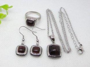 Claret Square Shape Stainless Steel Murano Glass Jewelry Set 1900015