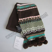 Ladies Wool Knitted Scarf Cap Ball