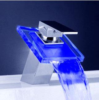 Chromeglass waterfall faucet vesselsink bathmodel 6100 - Fancy bathroom faucets ...