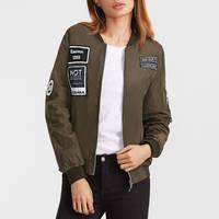Embroidered Patch Bomber Jacket Army Jacket Women Satin Zipper Bomber Jacket Women 2016 Winter