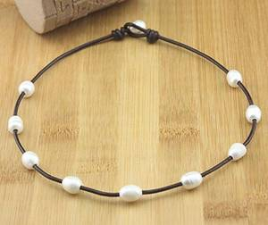 Wholesale jewellery set: Handmade Freshwater Natural Pearl Leather Necklace AA Grade Leather Pearl Necklace Pearl Jewelry