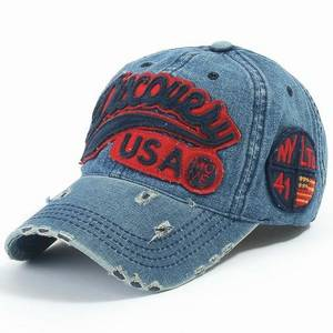 Wholesale cotton army cap: Frayed Vintage Felt Applique Embroidery Baseball Caps