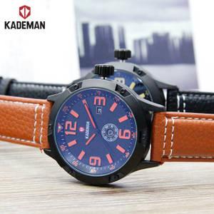 Wholesale wrist watch: 2017 Kademan Brand Elegance Day/Date Leather Wrist Watch