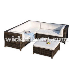 Wholesale Garden & Patio Sets: Wholesale OEM Handmade Woven Wicker Willow Rattan Home Living Room Patio Furniture Sofa Set FU0005