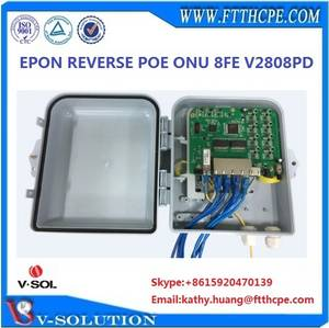 Wholesale voip product: Water-proof Case Outdoor Working Surge Protection 4KV Epon Reverse Poe Onu V2808PD