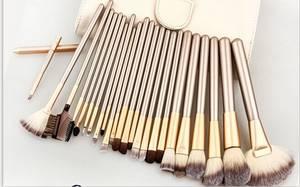 Wholesale makeup brush goat hair: 24pcs Silver Handle Hot Sale Custom Makeup Brush Shiny Cosmetic Makeup Tool
