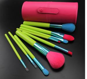 Wholesale makeup pencil: Square Leather Cosmetics Brush Pouch Makeup Brush Cup Holder
