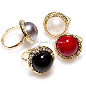 Wholesale caps gold: Free Size Ring Gold and Rodium Plated Imitation Cap Pearl GR002