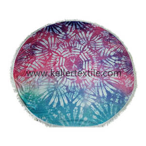 Wholesale microfiber: Terry Microfiber or Cotton Customized Round Printed Purple and Blue Colors Beach Towel