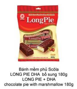 Wholesale chocolate: Long-Pie Chocolate Pie with Marshmallow 180g, 216g