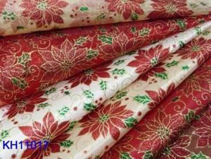 Wholesale high quality sheer curtain: Poinsettia Printed Organza Fabric
