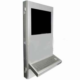 Super Slim Wall Mount Information Kiosk with Metal Keyboard