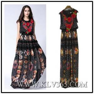 Wholesale Dresses: Designer Dress Elegant Women Flower Printed Chiffon Silk Party  Dress