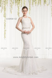 Wholesale wedding gowns: Sleevless Beaded Halter Neck Lace Applique Sheath A Line Gown