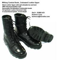 Military Combat Boots , Embossed Leather