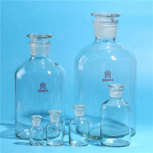 REAGENT BOTTLE Clear, Narrow Mouth, with Plastic or Glass-in...