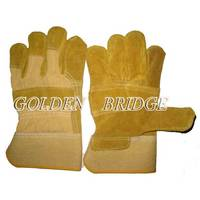 Yellow Cowhide Split Leather Patch Palm Labor Glove