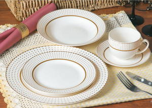 Wholesale gold set: 20pcs Round Gold Design New Bone China Dinnerware Set