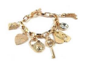 Wholesale gold bracelets: MK Fashion Jewelry Plated Alloy Silver Gold Mk Charm Bracelet Jewelry