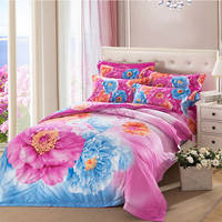 Rainbow Version Flowers Design 4pc Bed Sheet Set Polyester Cotton 300tc Stripe Bed Sheet Cover