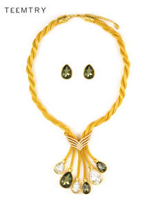 Wholesale gold earrings: Wholesale 18 K Shining Gold Plated Necklace and Earrings for Dubai Style Jewelry
