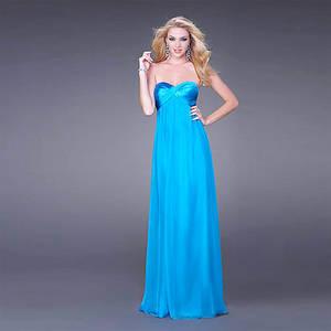 Wholesale prom dresses: Chic Loose-fitting Sheath Column Sweetheart Strapless Floor-length Elastic-satin Chiffon Prom Dress