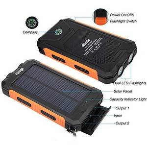 Wholesale Mobile Phone Chargers: Water Proof Solar Power Bank 10000mAh with Compass