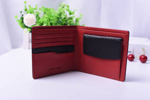 Wholesale wallets: Factory Custom Genuine Leather Flip Up Card Holder Wallet with Coin Pocket
