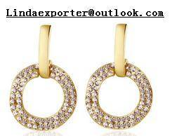 Wholesale gold earrings: 18K Gold Color Round Shape with CZ Stone Earrings