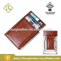 Sell Italian Vegetable Tanned Leather Money Clip Card Holder Wallet