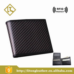 Wholesale purses: Newly Carbon Fiber Genuine Leather Mens Rfid Wallet Purse in Hot Selling