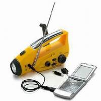 Crank Dynamo Solar Torch with Mobile Phone Chargers & Radio