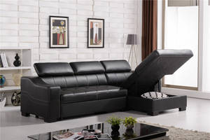 Wholesale bed: Contemporary Sofa Bed L Shape Leather Sofa
