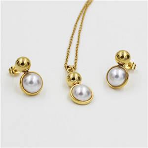 Wholesale gold set: Dubai 18K Gold Vacuum Plated Pearl Jewelry Set