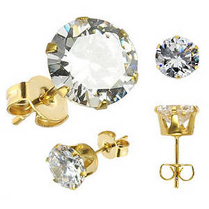 Wholesale gold earrings: Wholesale Price Popular Stainless Steel 18K Gold Plated Women Stud Earrings