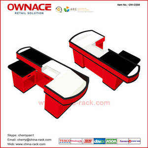 Wholesale Checkout Counters: OW-C008 Supermarket Checkout Counter Electric Cashier Counter Cashier Table with Belt