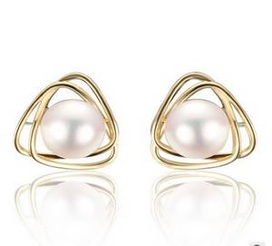 Wholesale wholesale sterling silver jewelry: 14K Gold with Pearl Stud Earrings Pearl Jewelry