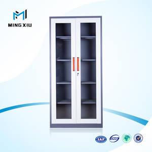 Wholesale glass cabinet: Henan Mingxiu Modern Steel Office Furniture 2 Swing Glass Door Metal File Cabinet / Steel File Cabin