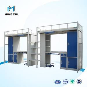 Wholesale School Furniture: China Manufacturer Adult Metal Bunk Bed Price with Desk and Wardrobe
