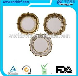 Wholesale paper plate: Luxury Lace Round Paper Plate with Golden Rim for Party