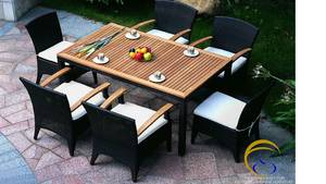 Wholesale Bamboo, Rattan & Wicker Furniture: Poly Rattan Dining and Coffee Set