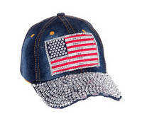 Sell USA Flag Distressed Denim Jean Bling Hat
