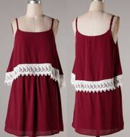 Sell fashion summer dress, halter neck sexy summer dress, lace trim summer dress