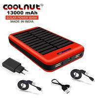 COOLNUT Power Bank 13000mAh Solar Panel Portable Charger Complete Kit (RED)