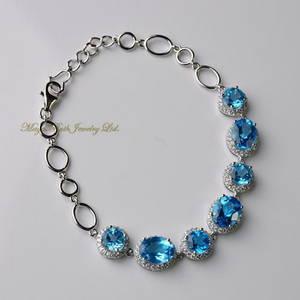 Wholesale gold bracelets: Natural Swiss Blue Topaz Bracelet 925 Sterling Silver White Gold Plated Micro Setting Elegant  Women