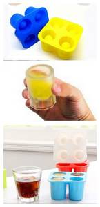 Wholesale silicone tray: 4 Cavities Cup Shape Silicone Ice Cube Tray