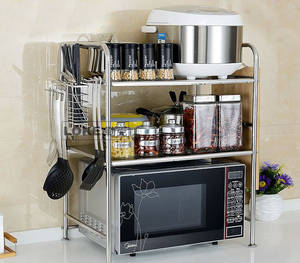 Wholesale pot stand: Stainless Steel Kitchen 3 Layer Microwave Oven Stand